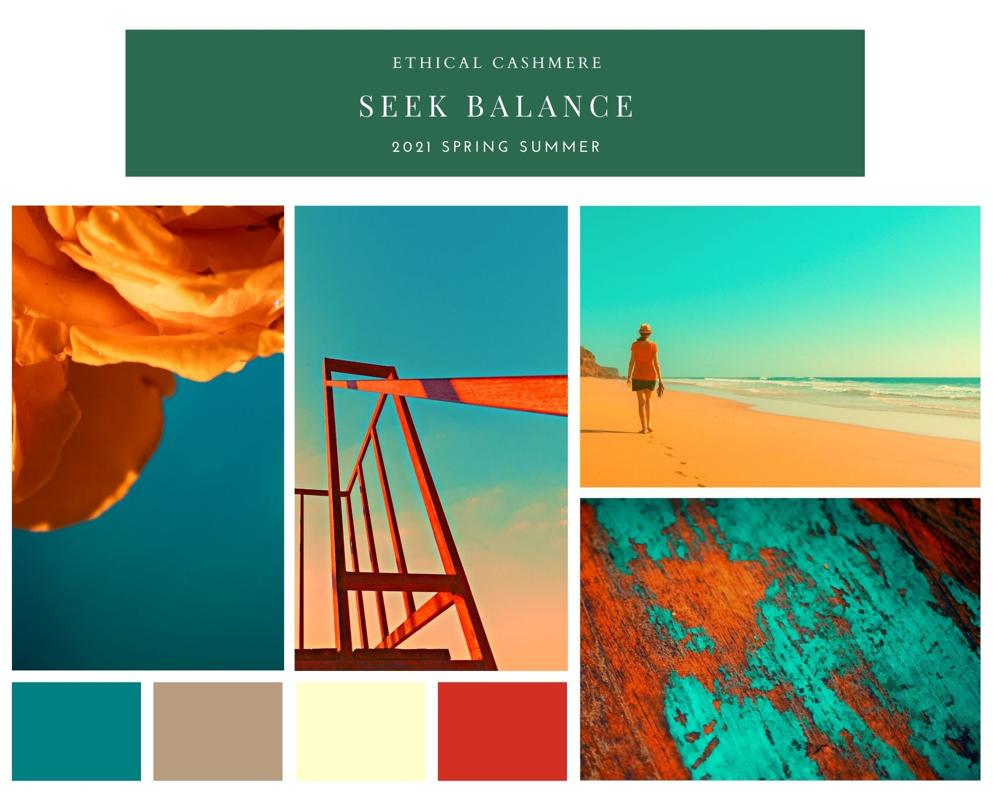 Mood board inspired by teal and orange themes for Ethical Cashmere's Spring 2021 season