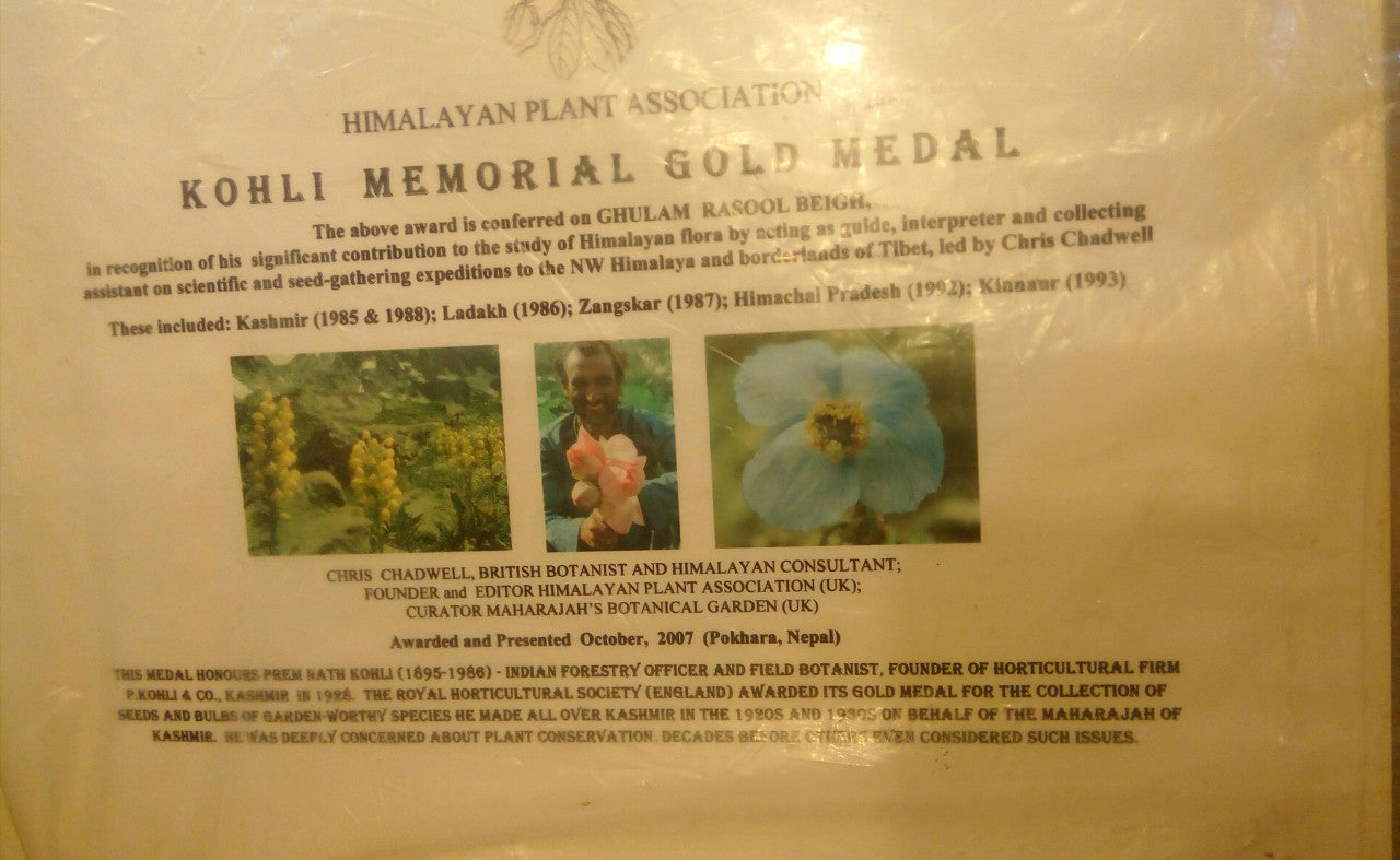Kohli Memorial Gold Medal award from the Himalayan Plant Association for Ghulam Rasool Beigh