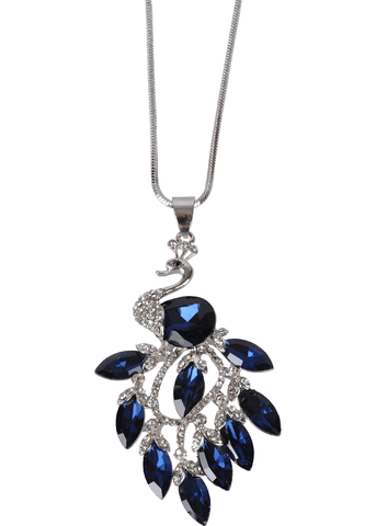 Succubus Crystal Feathers Peacock Necklace Blue