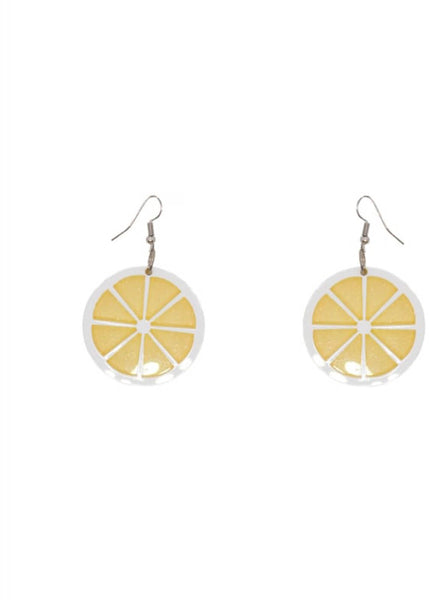 Collectif Lemon Slice Acrylic Earrings Yellow