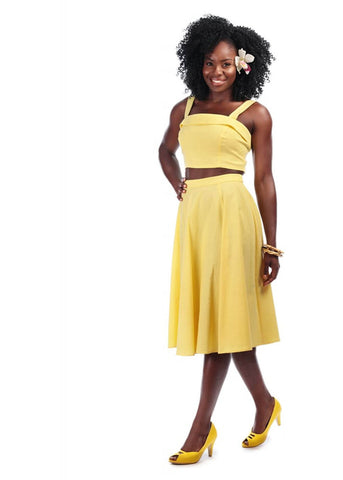 Collectif Matilde 50's Swing Skirt Yellow