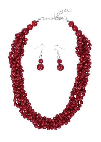 Collectif Finley Necklace and Earrings Red