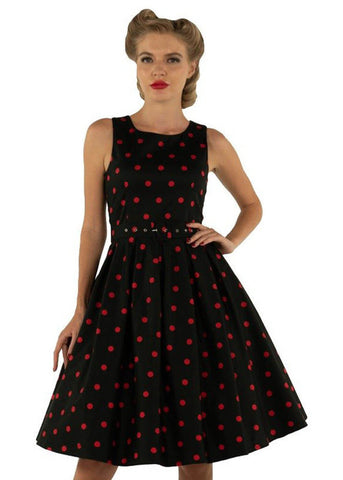Dolly & Dotty Annie Polkadot 50's Swing Dress Black Red