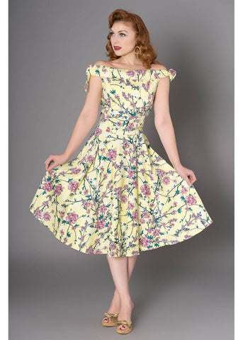 Sheen Zenith Floral 50's Swing Dress Yellow
