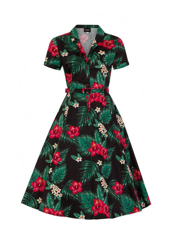 Collectif Caterina Tropical Paradise 40's Swing Dress Black