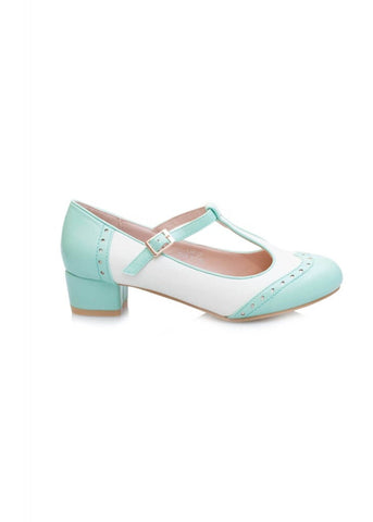 Lulu Hun Georgia 50's Block Heel Pumps Mint White