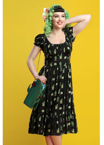 Collectif Carmen Cactus 50's Gypsy Dress Black