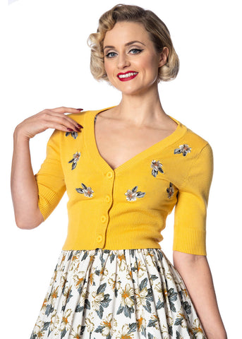 Banned Tiki Floral 50's Cardigan Yellow