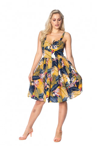 Banned Paradise 50's Swing Dress Mustard