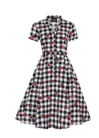 Collectif Caterina Watermelon Gingham 50's Swing Dress Multi