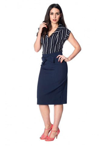 Banned Deckchair Stripe 50's Blouse Navy Blue