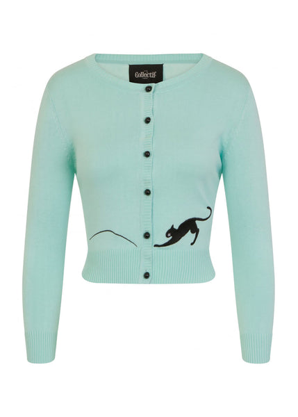 Collectif Jessie Kitty Cat 50's Cardigan Mint Green