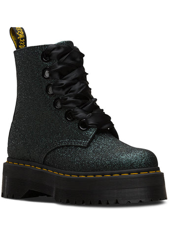 Dr. Martens Molly Glitter Lace-Up Boots Black Green
