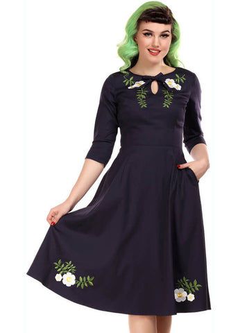 Collectif Rossella Camelia 40's Swing Dress Navy