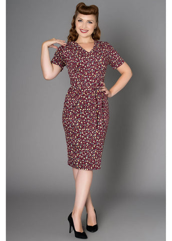 Sheen Dawn 40's Pencil Dress Burgundy