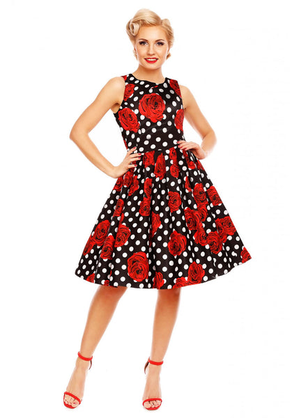 Dolly & Dotty Annie Roses and Polkadots 50's Swing Dress Black