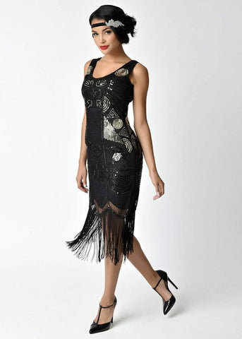 Unique Vintage Raine 1920's Flapper Dress Black