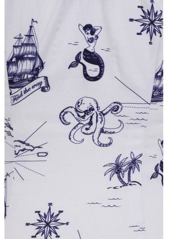 Collectif Lorena Ocean Map 50's Top White Navy
