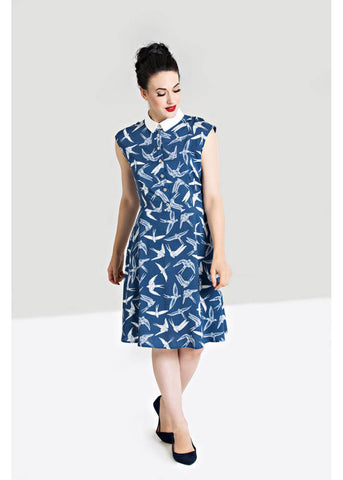 Hell Bunny Lilou 40's A-Line Dress Blue