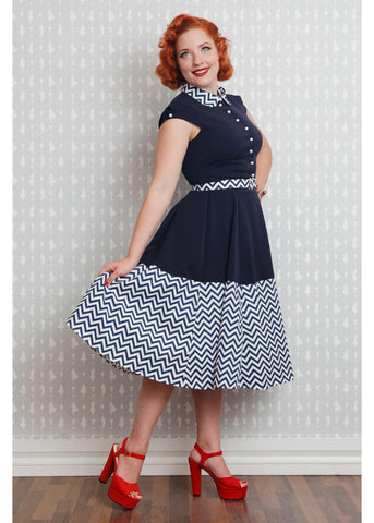 Miss Candyfloss Elisa Zigzag 40's Swing Dress Navy