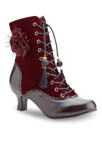 Joe Browns Couture Harlem Velvet 40's Boots Burgundy