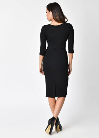 Unique Vintage Mod Sleeved 60's Pencil Dress Black