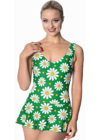 Banned Crazy Daisy 60's Skirted Swimsuit Green