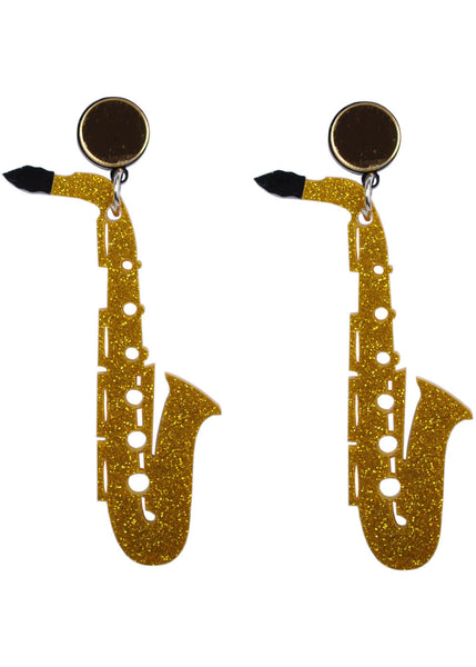 Succubus Saxophone 60's Pop Art Earrings