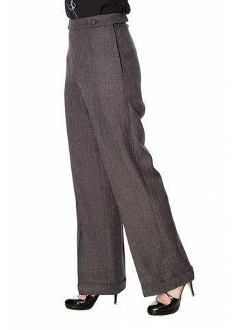 Banned Button 40's Trousers Grey