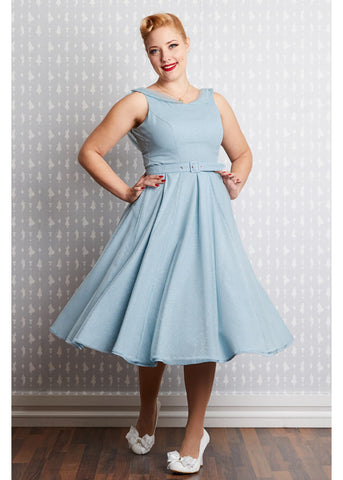 Miss Candyfloss Cinderella Regina 50's Swing Dress Blue