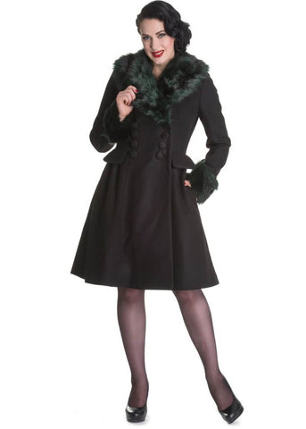 Hell Bunny Rock Noir 50's Coat Black Green