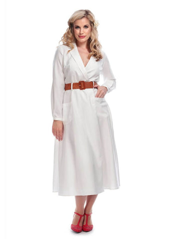 Collectif Magdalena Midi 60's Swing Dress White