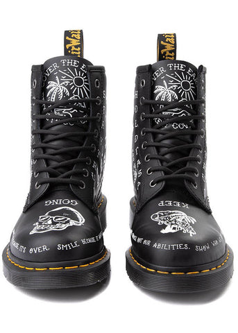 Dr. Martens 1460 Scribble Backhand Boots Black