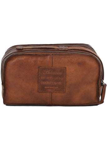Ashwood Jason Leather Wash Bag Brown