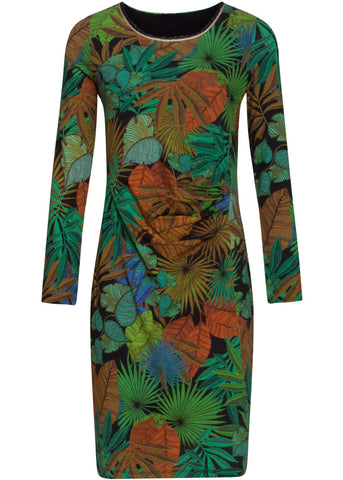 Smashed Lemon Preserve The Forest 60's Pencil Dress Black Green