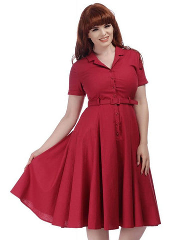 Collectif Caterina 40's Swing Dress Raspberry Pink