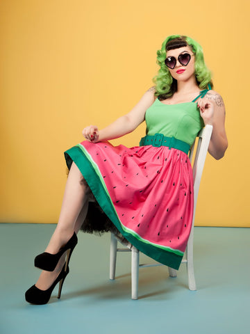 Collectif Jade Watermelon 50's Swing Dress Green