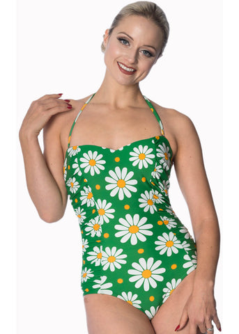 Banned Crazy Daisy 60's Halter Swimsuit Green