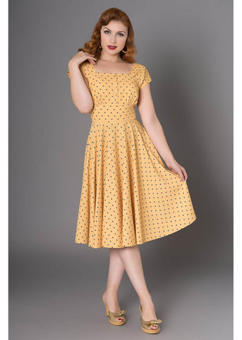 Sheen Zafira 50's Swing Dress Yellow