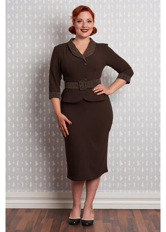 Miss Candyfloss Gunni 40's Pencil Dress Brown