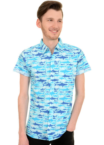 Run and Fly Gentlemens Shark Attack Shirt Blue