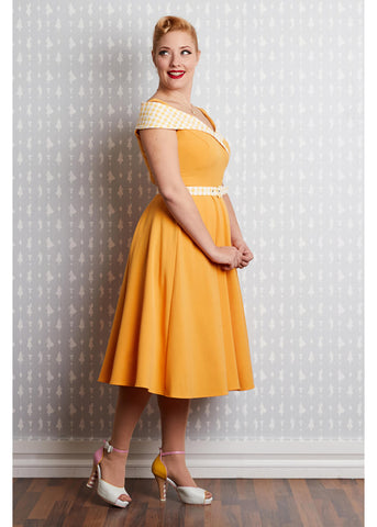 Miss Candyfloss Gillantar Sun 50's Swing Dress Yellow
