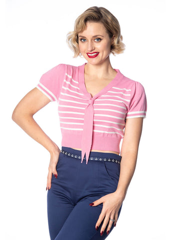 Banned Sailor Stripe Tie 50's Top Baby Pink