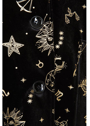 Bright & Beautiful Luna Zodiac Velvet 70's Jacket Black