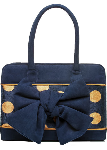 Ruby Shoo Dakota Polkadot 50's Bag Navy