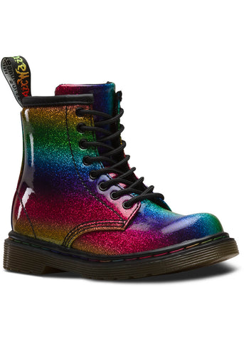 Dr. Martens Toddler 1460 Ombre Rainbow Glitter Boots Multi