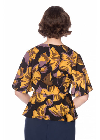 Banned Polly Peplum 50's Top Mustard