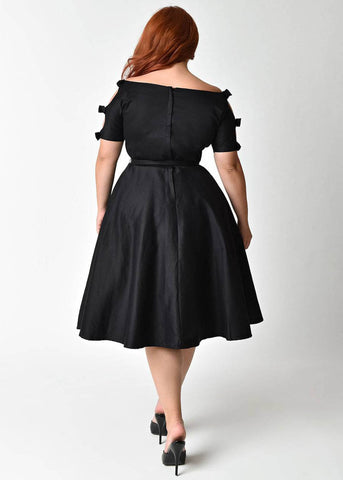 Unique Vintage Selma Bow 50's Dress Black