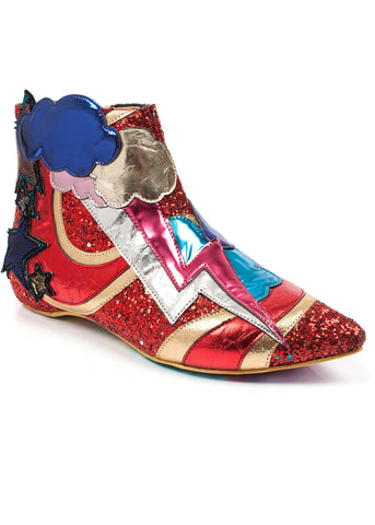 Irregular Choice Electric Buzz Boots Red Gold