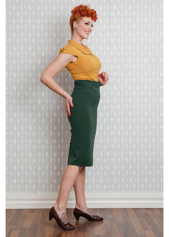 Miss Candyfloss Juana 40's Pencil Skirt Emerald